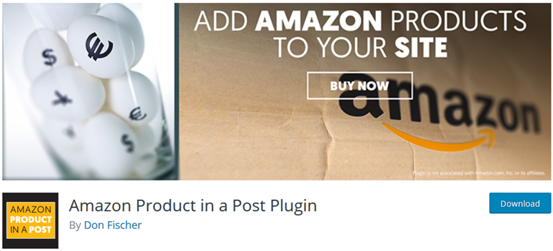 prodotto Amazon in un post plugin
