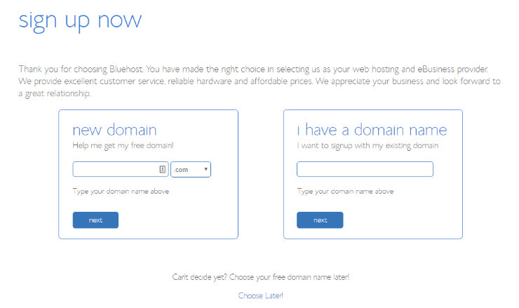 Bluehost-select-domain