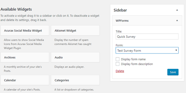 WPForms Survey Widget