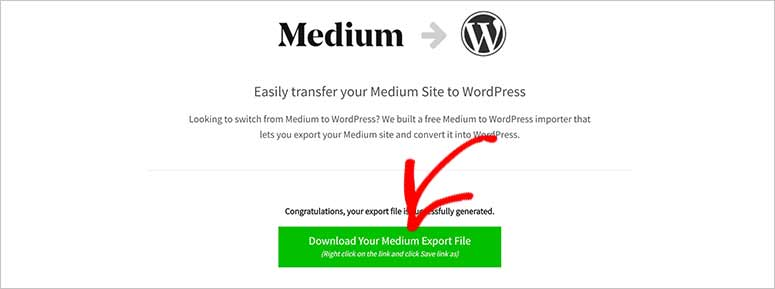 Unduh file Medium ke WordPress