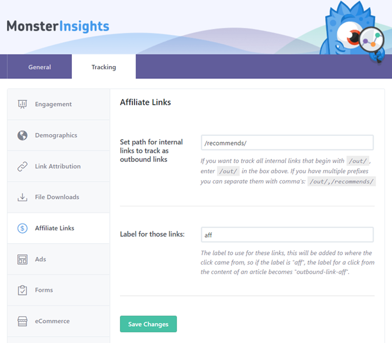 monsterinsights-affiliate-tracking-setup