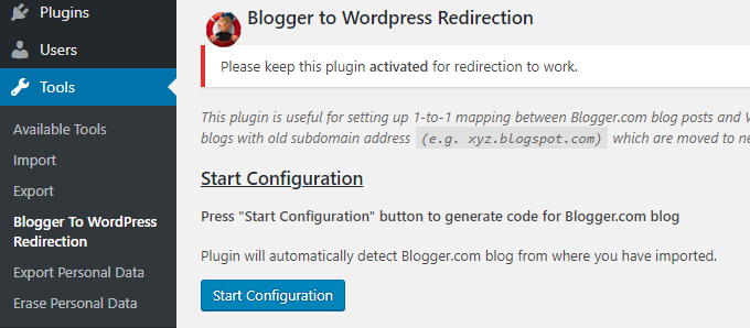 blogger per reindirizzare wordpress